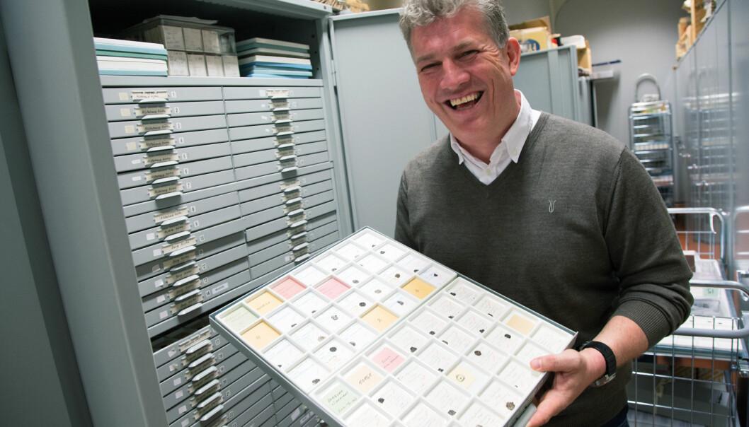 – Folk ofret de minste myntene, og det er derfor vi har funnet flest av disse, forteller Svein Harald Gullbekk i Myntkabinettet på Kulturhistorisk museum i Oslo. (Foto: Yngve Vogt)