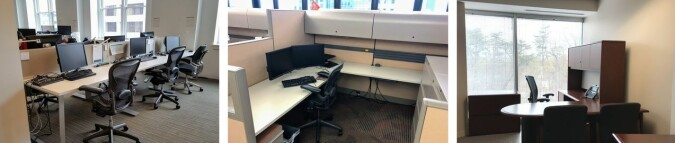Tre typer kontorer: Åpent landskap, avlukke og eget kontor. (Bilde fra studien)