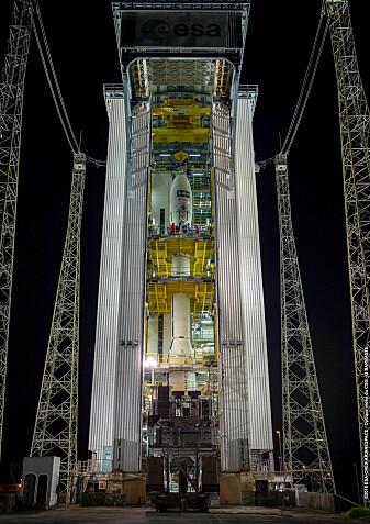 Aeolus ble skutt opp med en Vega-rakett i Kourou, Fransk Guyana. (Foto: ESA / CNES / Arianespace)