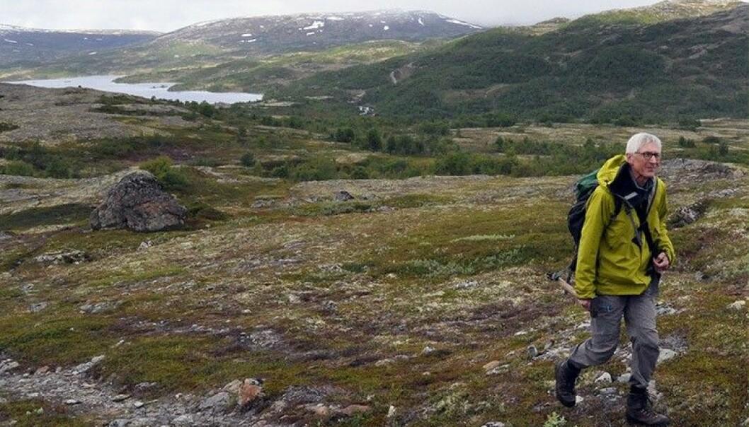 Prisvinnaren Tor Grenne på feltarbeid i Hessdalen i Sør-Trøndelag. (Foto: Gudmund Løvø)