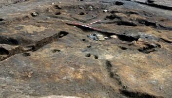 Bildet viser restene av en groptuft fra Ormen Lange-prosjektet i Nyhamna, Aukra, Møre og Romsdal i 2003 og 2003. Groptuften har vært i bruk mellom 5200 og 4100 f.Kr., i 1100 år. (Foto: NTNU Vitenskapsmuseet)