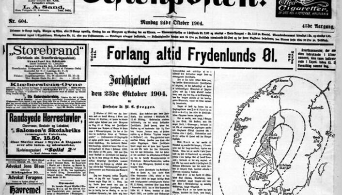 Forsiden av Aftenposten dagen etter jordskjelvet 23. oktober 1904.