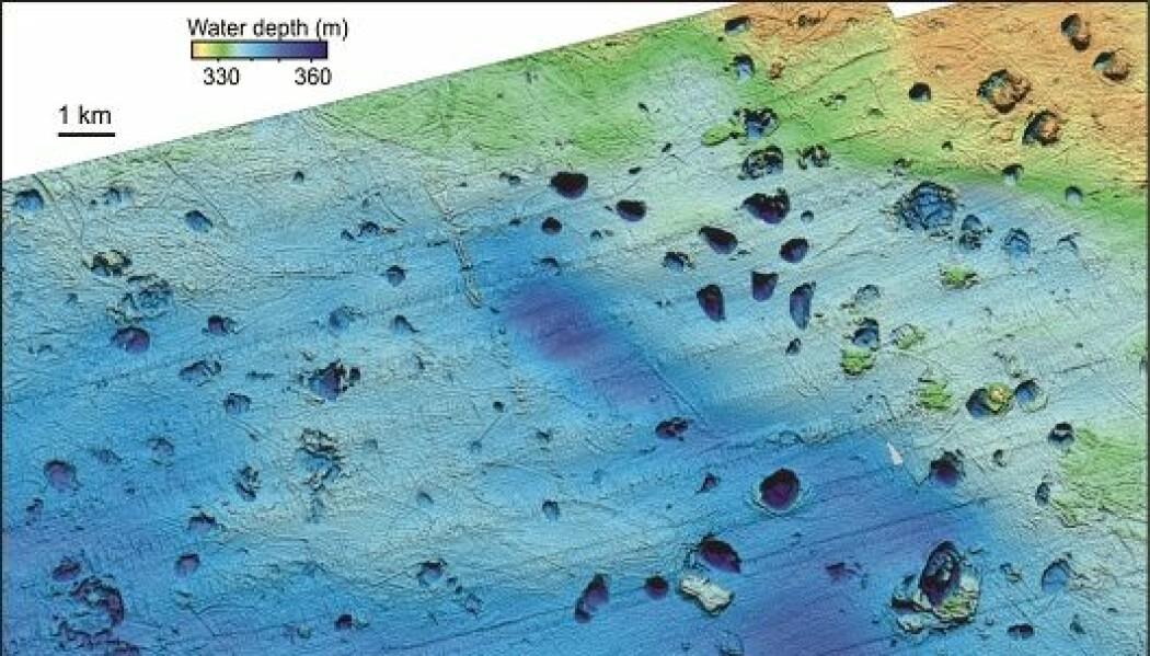 På havbunnen ved Bjørnøya har forskerne funnet over hundre kratere med en diameter på opptil 1000 meter. De skyldes utblåsninger og delvis eksplosjoner på havbunnen. (Bilde fra forskningsartikkel, Andreassen m. fl., 2017)