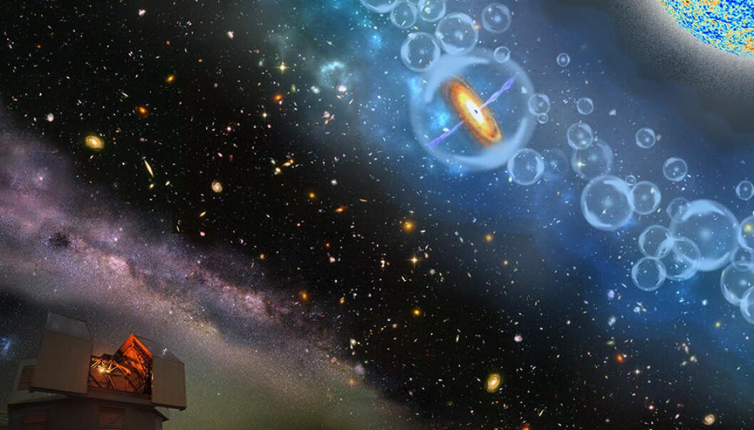 Den eldgamle kvasaren stammer fra en svært interessant periode i universets historie. Illustrasjonen viser kvasaren og tidlige stjerner som skaper bobler av ionisert hydrogen i et univers av nøytral hydrogengass.  (Illustrasjon: Robin Dienel / Carnegie Institution for Science)