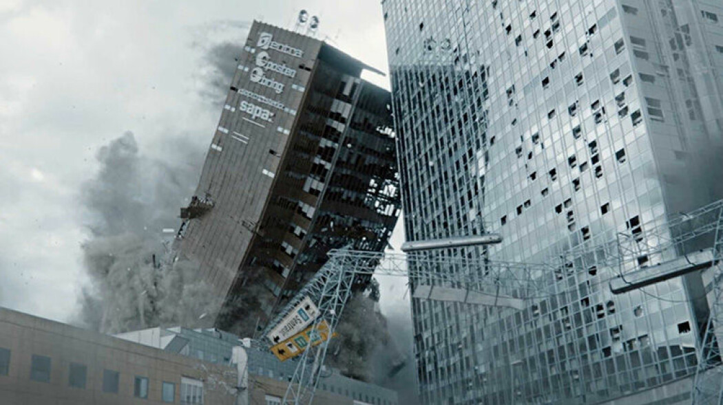 Et jordskjelv i Oslo kan få dramatiske følger. I «Skjelvet» rammes byen av et jordskjelv med en styrke på åtte på Richters skala. Et skjelv på samme styrke rammet Finnmark for omtrent 10 000 år siden. Det vises fortsatt på landskapet. (Foto: fra Skjelvet, produsert av Fantefilm)