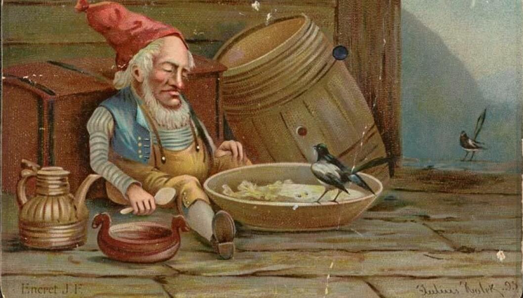 Gardsfolket visste å stryke fjøsnissen med håra. Han passa på fjøset og sytte for at dyra skulle få mat.Dette bildet av fjøsnissen har kunstnar Julius Holck malt i 1895. (Foto:  Lånt av Nasjonalbiblioteket)