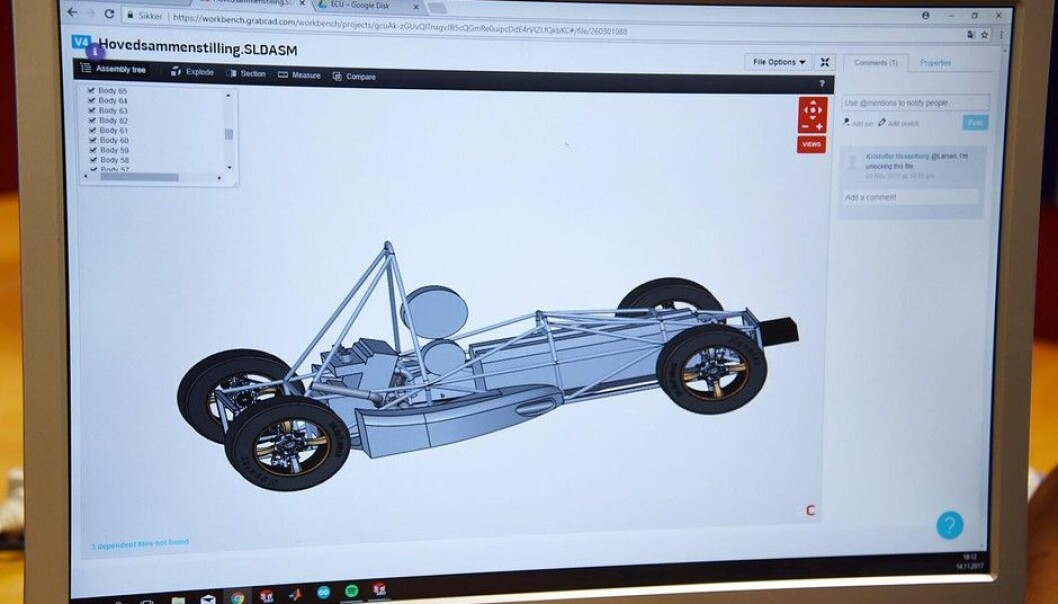 Slik ser den ut nå, 3D-modellen av racerbilen som UiA-studentene skal konkurrere med i England til sommeren.  (Foto: UiA)