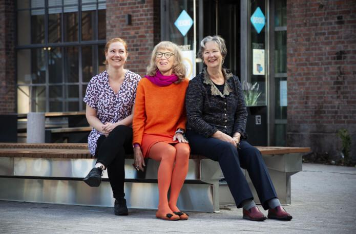 Cecilie Fromholt Olsen, Astrid Bergland og Kirsten Ekerholt ved OsloMet er forskerne bak den første publiserte effektstudien om psykomotorisk fysioterapi i Norge. (Foto: Sonja Balci)