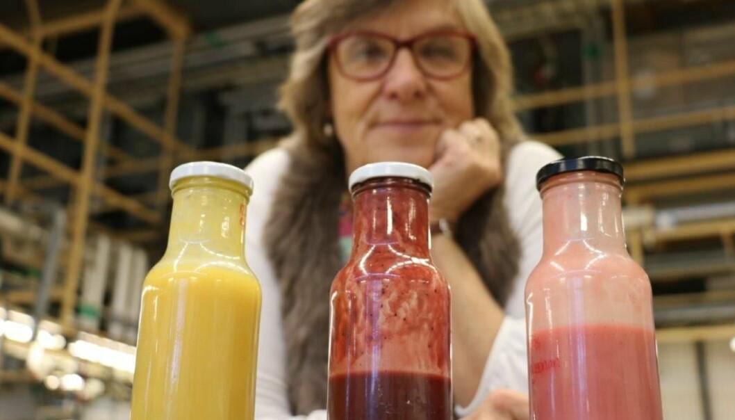 Her er smoothien laget med potetmelk og frukt. (Foto: Kristina Lindgärde)