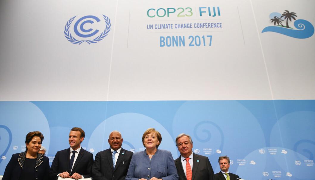 Nylig samlet verdens ledere seg i Bonn i Tyskland for å snakke om hvordan de kan nå målene i Parisavtalen.  (Foto: Wolfgang Rattay / Reuters / NTB Scanpix)