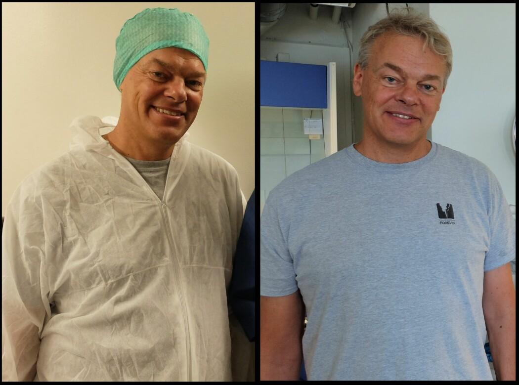 Til venstre: Nobelprisvinner med antrekk. Til høyre: Nobelprisvinner uten antrekk. (Foto: Eivind Torgersen)