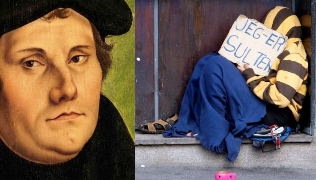 På Martin Luthers tid for 500 år siden ble tigging og omstreiferi sett på som en stor utfordring, akkurat som i dag. Luther gikk i spissen for å finne løsninger. (Montasje. Maleri: Lucas Cranach den eldre. Foto: Morten Holm, NTB scanpix)