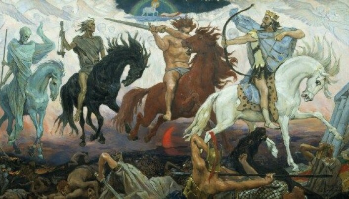 Apokalypsens fire ryttere tolkes ofte som symboler på henholdsvis på pest, krig, hungersnød og død. (Illustrasjon: Viktor Vasnetsov, Wikimedia Commons)
