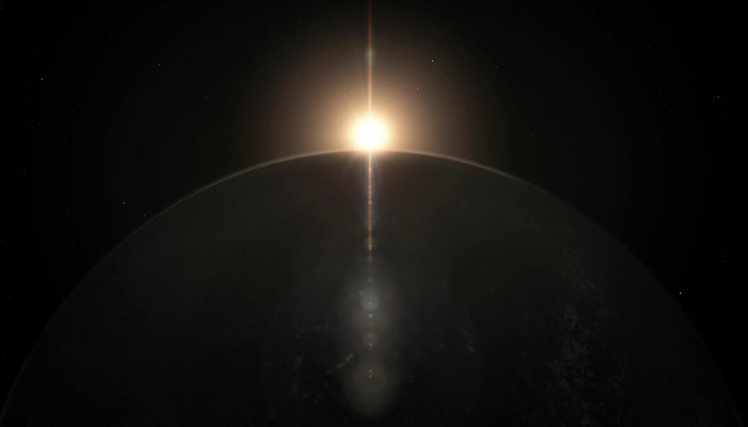 Planeten Ross 128 b er funnet i rundt en rød dvergstjerne bare 11 lysår fra Jorda – og den kommer stadig nærmere oss. Planeten kan ha større mulighet for liv enn den enda nærmere planeten Proxima B, fordi stjernen til Ross 128 b ikke sender ut drepende stråling. Planeten er funnet ved hjelp av ESOs planetjegerinstrument HARPS i Chiles ørken.  (Illustrasjon: Fra video publisert av ESO.)