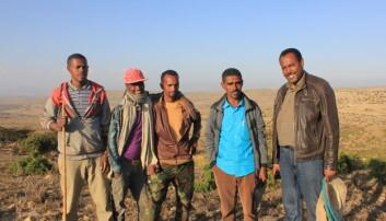 En av ungdomsgruppene hadde bikuber i skogen like ved der de bodde. Mesfin Tilahun Gelaye (til høyre) er en av forskerne fra Handelshøyskolen på NMBU som har sett på hvordan etiopiske ungdom går sammen for å skape bærekraftige bedrifter. (Foto: NMBU)