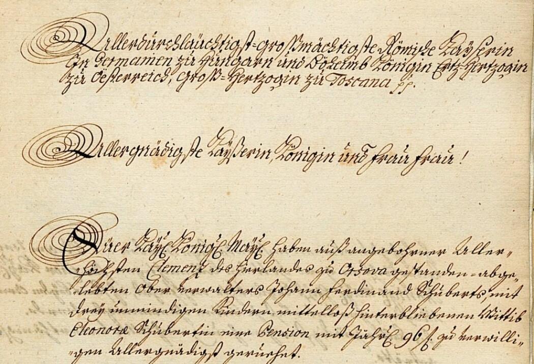 Slik så en søknad om å få gå av med pensjon ut for snart 300 år siden. Dokumentet oppbevares i Det østerrikske statsarkivet sammen med tusener av andre som forteller om byråkratiets begynnelse.