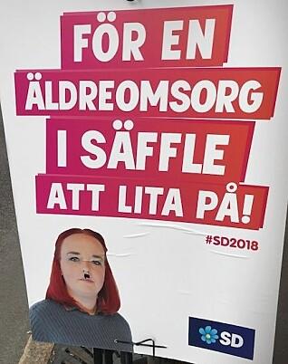 Heller ikke på gata i Säffle unngår de lokale Sverigedemokraterna nazistempelet. (Foto: Siw Ellen Jakobsen)