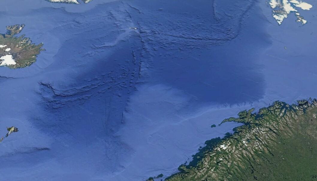 Her kan vi se kontinentalsokkelen i lyseblå på begge sider av Norskehavet og Grønlandshavet. Nå kan forskere beskrive nesten nøyaktig hvordan kontinentene ble revet fra hverandre.  (Illustrasjon: Google Earth)