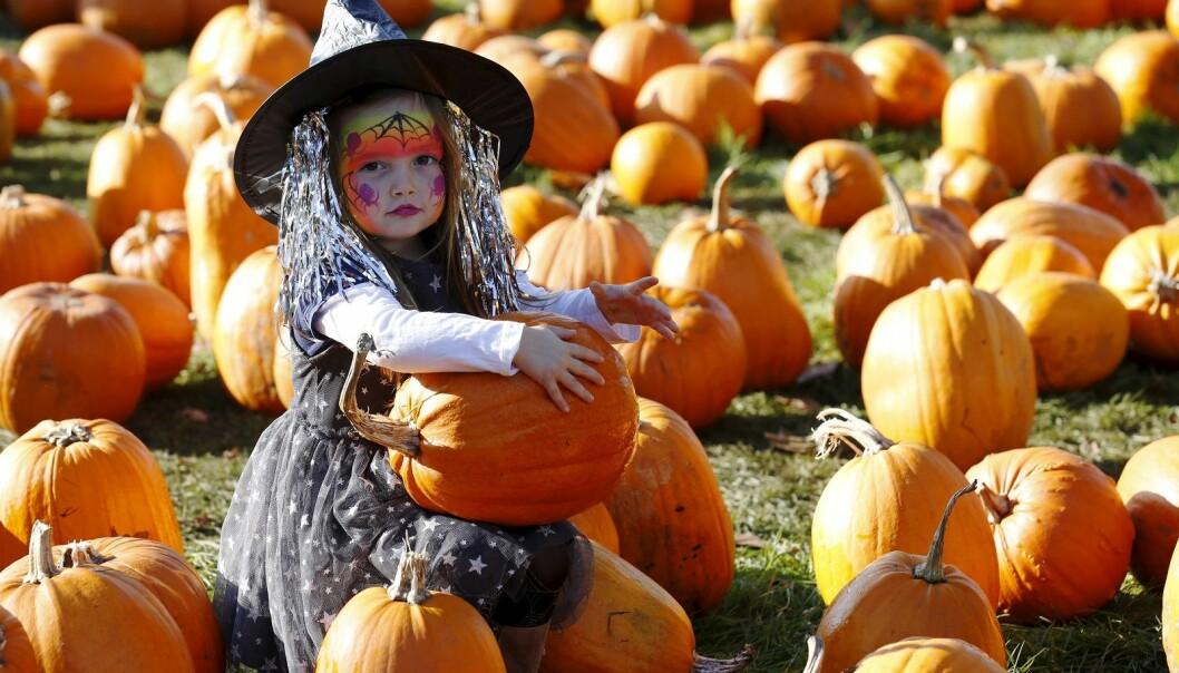 Ikke lenge etter at de første amerikanerne tok med seg Halloween til Norge, begynte massiv markedsføring av dagen i hele Europa. Her er lille Maisy Thompson fra som har kledd seg ut som heks i Woking sør i Storbritannia. (Foto: Luke MacGregor, Reuters, NTB scanpix)