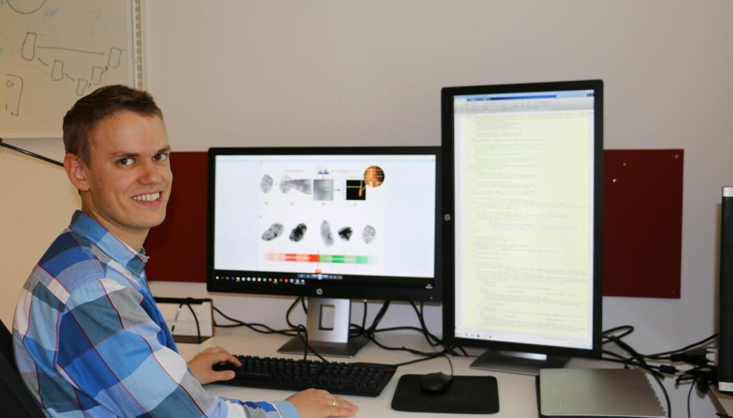 Andreas Kleppe har utviklet et system som kan analysere flere tusen bilder av kreftceller. Tanken er at systemet kan gi mer presise diagnoser. (Foto: Gunhild M. Haugnes/UiO)