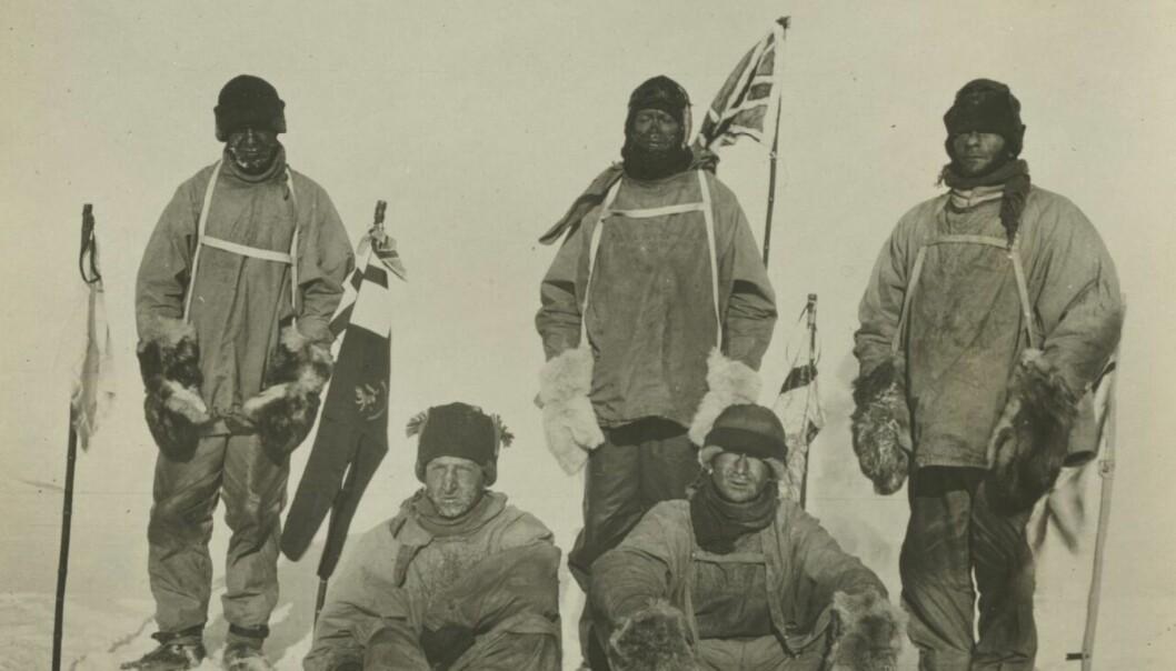 Robert F. Scott (bak, i midten) og hans menn døde alle sammen på vei tilbake fra Sydpolen. En forsker mener at et annet medlem av ekspedisjonen hadde mye av skylden for det. (Foto: National Library)
