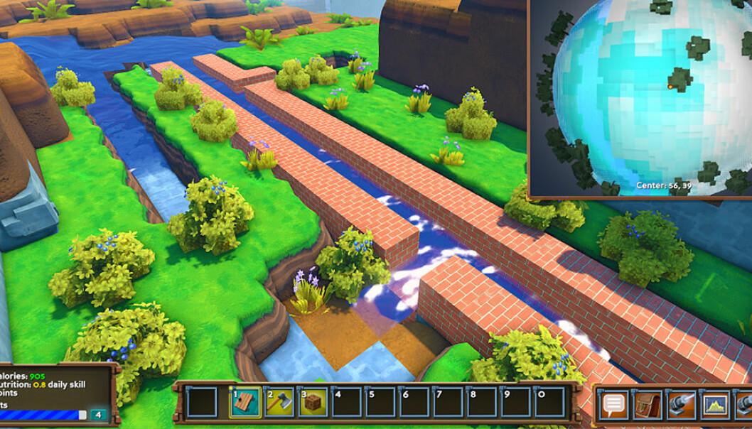 Forskere skal se på om spill med miljøtema kan ha en effekt på elevenes holdninger og kunnskap om miljøet.  (Illustrasjon: fra miljøspillet ECO / www.strangeloopgames.com)