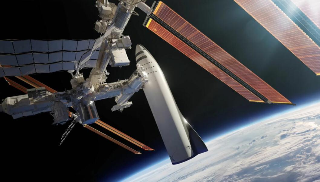 SpaceX vil vrake sine tidligere suksesser, raketten Falcon 9 og kapselen Dragon, til fordel for kjemperaketten BFR. Øverste trinn av denne raketten, BFS, skal kunne ta av fra Jorda og nå jordbane bare med egne rakettmotorer, ifølge lederen Elon Musk. Det blir i så fall det første romskip som klarer denne bragden. Her er BFS koblet til den internasjonale romstasjonen. (Illustrasjon: SpaceX, fra YouTube-video av foredraget Elon Musk holdt på romkongressen IAC i Adelaide, Australia 20.9.2017)