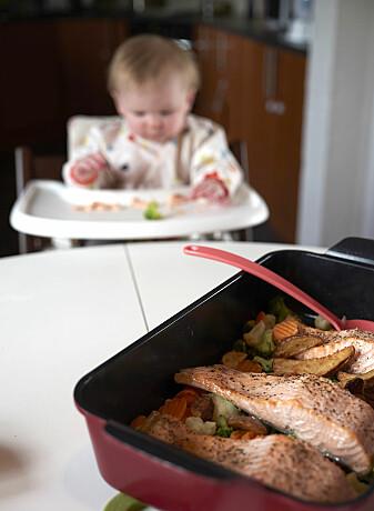 Laks og grønnsaker er godt, sunt og lett for babyen å spise selv. (Foto: Audun Iversen / Nofima)