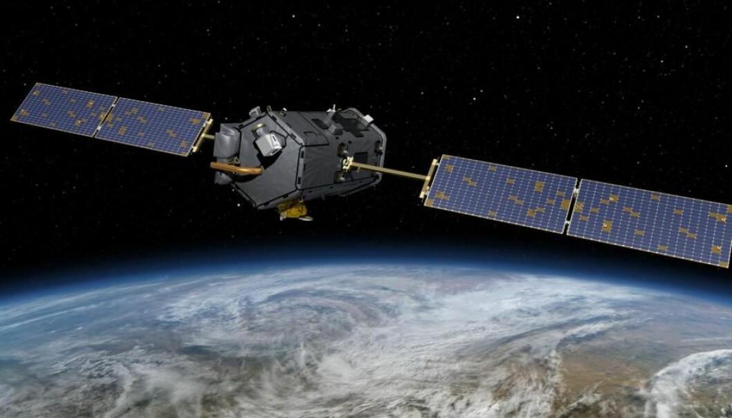 Satellitten OCO-2 har siden 2014 sendt millioner av målinger av CO₂ i atmosfæren tilbake til forskere på jorden.  (Illustrasjon: NASA)