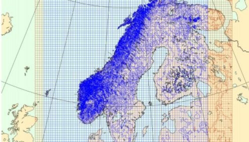 Figuren viser området som de nordiske landene bruker i beregningene sine.  (Figur: Meteorologisk institutt)