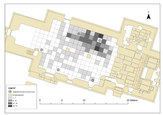 Slik fordelte funn av nåler seg under kirkegulvet i den nå svært godt undersøkte Bunge kirke på Gotland. Det var kvinner som brukte slike nåler. (Kart: Steinar Kristensen og Christoph Kilger / UiO og Uppsala Universitet)