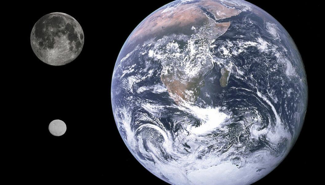 Størrelsessammenligning mellom månen, Ceres (den lille hvite) og jorden. (Bilde: Gregory H. Revera, NASA/JPL-Caltech/UCLA/MPS/DLR/IDA)