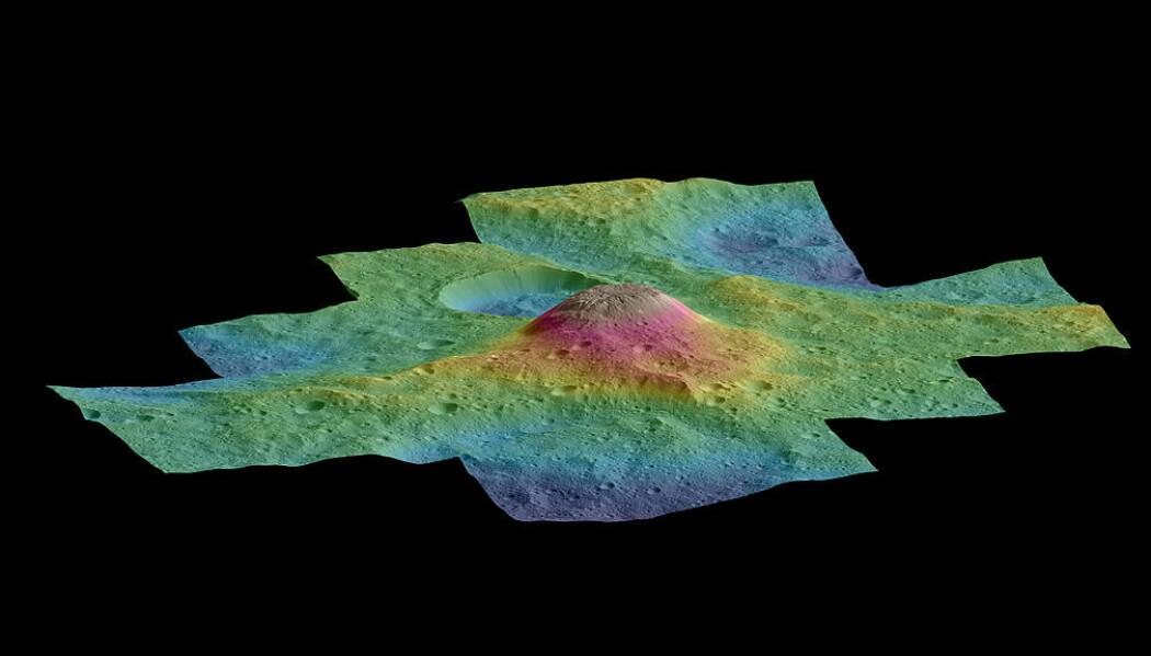 Et bilde som viser høydeforskjellen mellom Ahuna Mons og området rundt. Det har noen slående likheter med en underjordisk kvise. (Bilde: NASA/JPL-Caltech/UCLA/MPS/DLR/IDA)