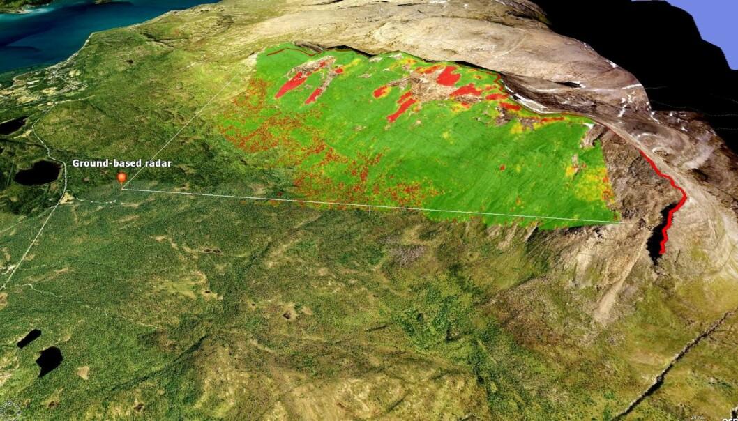 I august 2014 målte bakkeradaren store bevegelser, markert med rødt, i steinbreene i Ádjet. (Foto: Norut).