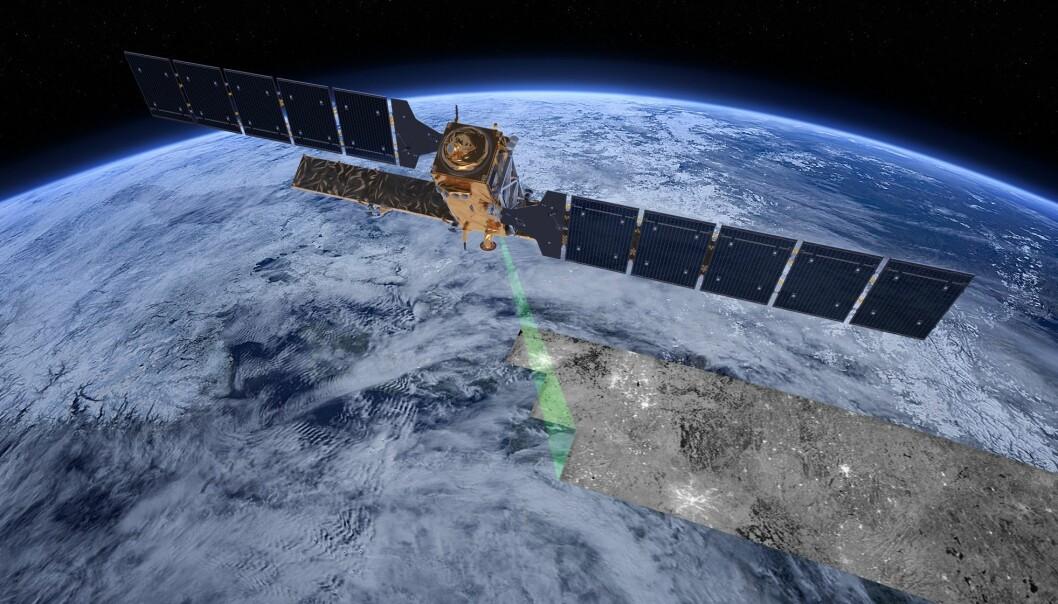 Radarsatellitten Sentinel-1 ser gjennom skyer og mørke. Derfor kan den brukes til å holde øye med orkaner. Illustrasjon: ESA/ATG medialab