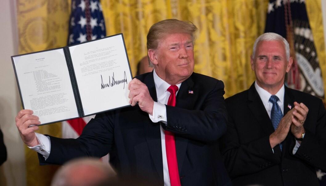 President Donald Trump har gitt forsvarsdepartementet Pentagon ordre om å etablere en romstyrke som en sjette forsvarsgren.  (Foto: Erin Scott, Polaris, NTB Scanpix)