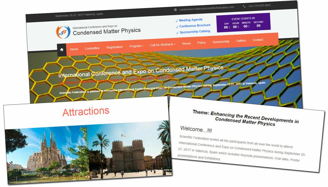 På nettsida til arrangøren av «International Conference and Expo on Condensed Matter Physics» har dei blant anna eit bilete av La Sagrada Familia, det mest kjende landemerket i Barcelona. Konferansen vart arrangert i Valencia. (Faksimile: forskning.no)