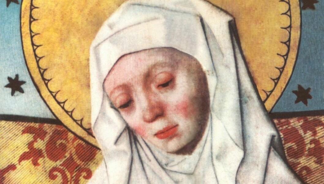 Birgitta av Sverige klarte å etablere seg som en av de ledende stemmene i samtidens offentlige politiske og religiøse debatter. Her avbildet på et altarskap i Salems kyrka i Södermanland i Sverige. (Foto: Wikimedia commons)