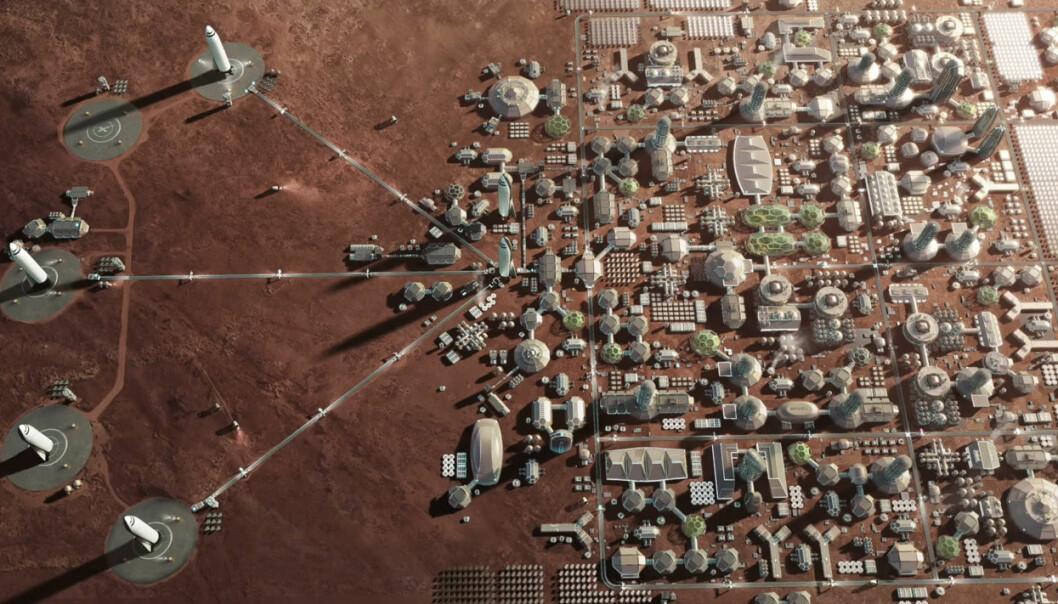 På sikt ønsker Elon Musk å terraforme Mars – gjøre planeten beboelig med luft vi kan puste og vann på overflaten, som for lenge siden da Mars var ung. Raketten BFR skal etter planene gå i skytteltrafikk fra Jorda med mennesker som vil bygge byer og gjøre oss til en flerplanetarisk art. (Illustrasjon: SpaceX, fra YouTube-video av foredraget Elon Musk holdt på romkongressen IAC i Adelaide, Australia 20.9.2017)