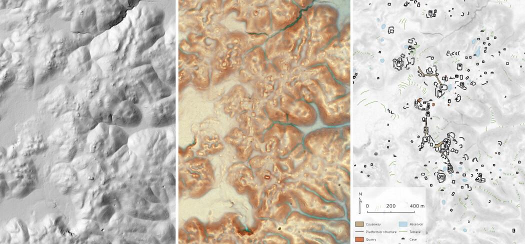Eksempel på lidar-bilder fra undersøkelsen. Til høyre ser du strukturer som har blitt markert og vurdert av arkeologene. (Bilde: Luke Auld Thomas/Marcello A Canuto/PACUNAM)