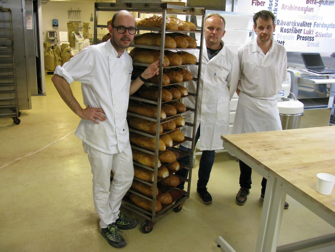 Mindre salt i brød er et viktig tiltak for bedre folkehelse. Baker André Løvaas på Nofima (t.v) gir råd om bakeprosessen til Kim Kirchert i Norgesmøllene og Bjarne Lund hos Baker Brun i Bergen. (Foto/cc: Stefan Sahlström/Nofima)