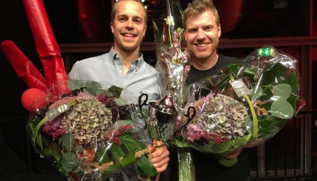 Torbjørn Øygard Skodvin (t.v.) og Morten Svendsen Næss er videre til den nasjonale finalen i Trondheim.  (Foto: Karine Nigar Aarskog)