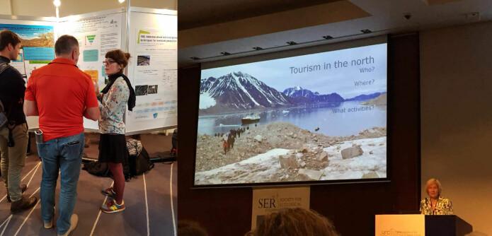 Vitenskapelige konferanser er et viktig forum for å presentere og diskutere egen forskning. Stipendiat Anne Melhoop viste en poster med doktorgradsprosjektet sitt (til venstre) og Dagmar Hagen holdt foredrag om turisme og restaurering. (Foto: Marianne Evju/Magni Olsen Kyrkjeeide.)