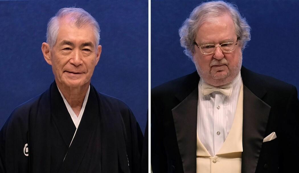 Tasuku Honjo (til venstre) og James P. Allison deler nobelprisen i medisin i 2018. Bildene er fra et arrangement prisvinnerne deltok på i september 2014, i Taipei, Taiwan. (Foto: Sam Yeh / AFP / NTB Scanpix)