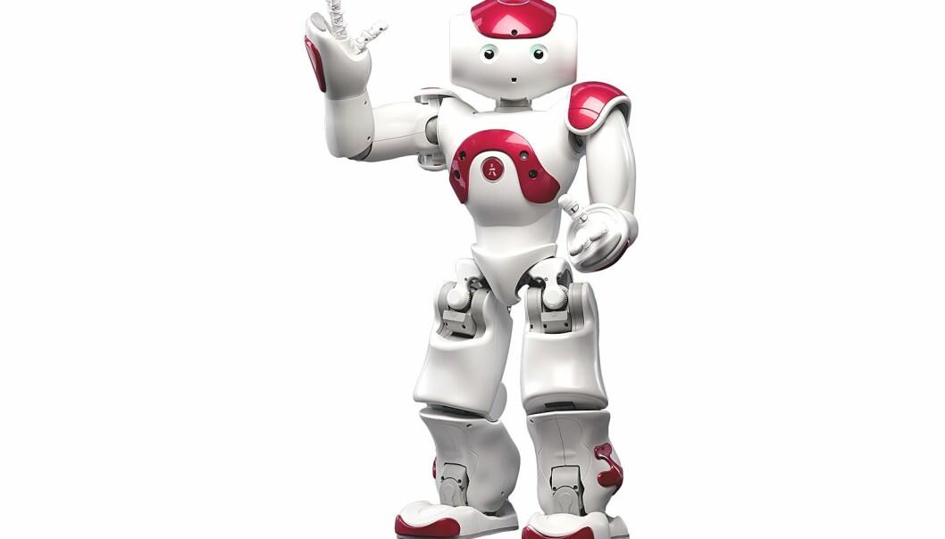 Roboten Nao ser ut som et menneske og er ifølge produsenten nå den mest brukte lærerroboten i verden. Han er utviklet i Frankrike og koster 70 000 kroner.  (Bilde: Aldebaran Robotics)