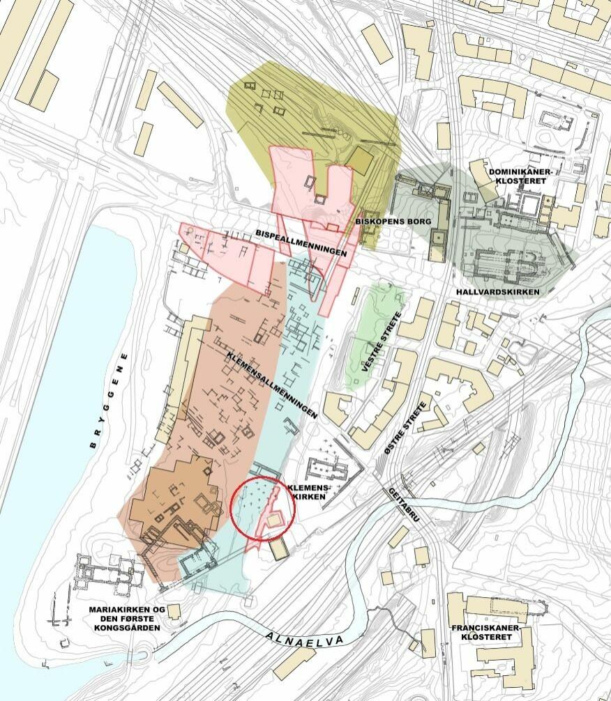 Utgravninger i middelalderbyen Oslo. Kirkegården til Nikolaikirken er markert med rød sirkel. Utgravningsområdet for kirkegården er farget lyserødt. De øvrige lyserøde områdene er NIKUs utgravningsområder i forbindelse med Follobaneprosjektet 2013–18. (Illustrasjon: Håvard Hegdal /NIKU)