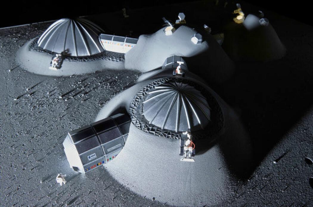 Forskere ved Høgskolen i Østfold skal utvikle betong som kan brukes til en planlagt utbygging på Mmånen. (Foto: Katy Harris/ESA)