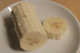 Dette er bananen vi la under mikroskopet. (Foto: Eivind Torgersen)