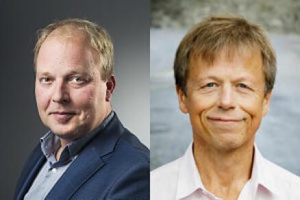 Fredrik Walby og Lars Mehlum ved Nasjonalt senter for selvmordsforskning og -forebygging. (Foto: Øystein Horgmo, UiO)