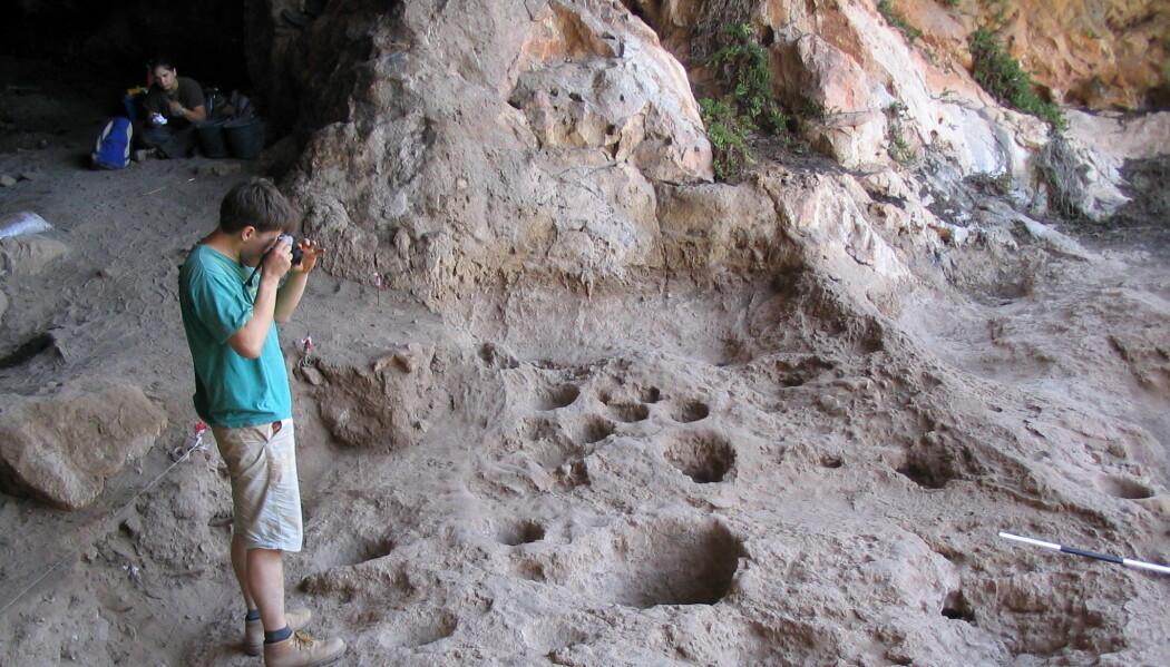 Raqefet-hulen kan ha vært et eldgammelt bryggeri. Noen av hullene i steingulvet fungerte trolig som mortere. (Foto: Dror Maayan)